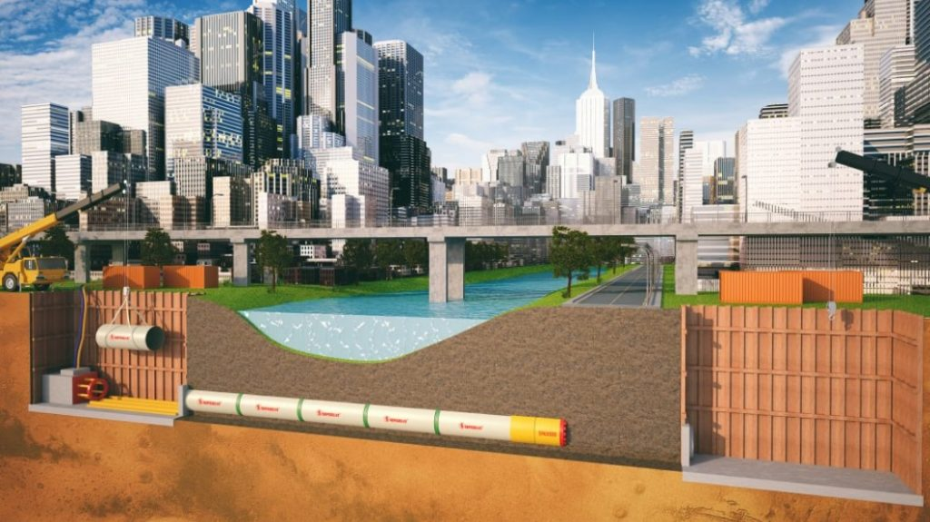 A diagram showing the use of GRP Jacking pipe in an urban setting