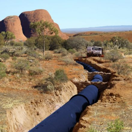 pipeline in a dug-out trench in outback Australia